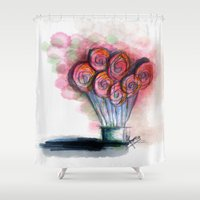 balloon Shower Curtains featuring balloon by Onde di Tela by Antonella Franco