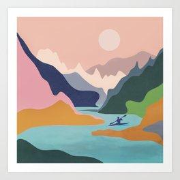 River Canyon Kayaking Art Print