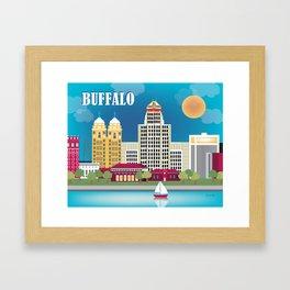 Buffalo, New York - Skyline Illustration by Loose Petals Framed Art Print