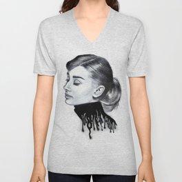 Audrey Hepburn Modern Surrealist Portrait Unisex V-Neck