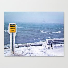 Blizzard at Spring Point Ledge Lighthouse, Maine (1) Canvas Print