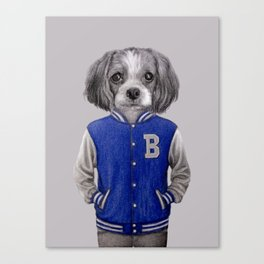 dog boy portrait Canvas Print