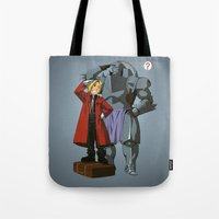 fullmetal alchemist Tote Bags featuring Alchemist of Steel by CromMorc