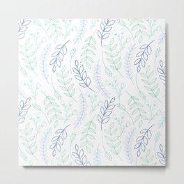 Modern blue green teal watercolor floral leaves Metal Print