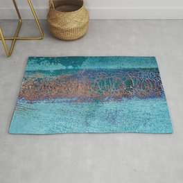 Rust and Cracks Turquoise Rug