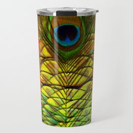 ART DECO RED GOLDEN-GREEN PEACOCK  PATTERN Travel Mug