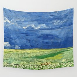 Wheatfield under thunderclouds by Vincent van Gogh Wall Tapestry