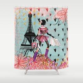 Fashion girl in Paris - Shopping at the EiffelTower Shower Curtain