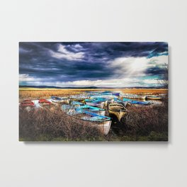 Blue Boats on the Shore Metal Print
