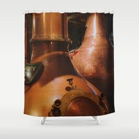 whiskey Shower Curtains featuring Copper and Whiskey by Nadia Bonello - Trū Artwear