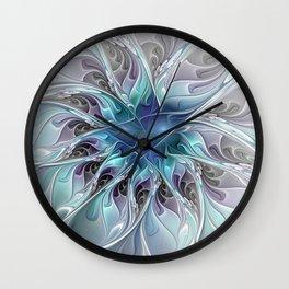 Flourish Abstract, Fantasy Flower Fractal Art Wall Clock