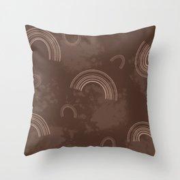 Boho Brown & Nude Splotchy Rainbow Throw Pillow