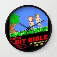 bible Wall Clocks featuring 8-bit Bible by Jim Lockey