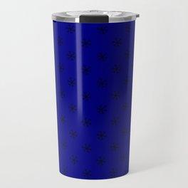 Black on Navy Blue Snowflakes Travel Mug