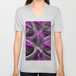 Eighties Retro Magenta and Grey Artistic Pattern Unisex V-Neck