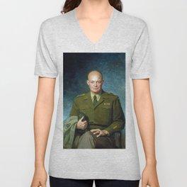 Dwight D. Eisenhower by Thomas Edgar Stephens (1947) Unisex V-Neck