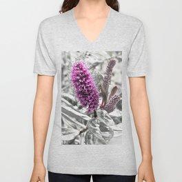 Pink flower in bold black and white foliage Unisex V-Neck