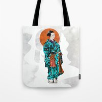 geisha Tote Bags featuring Geisha by Steve W Schwartz Art