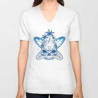 surfboard V-neck T-shirts featuring skull on surfboard background by Doomko