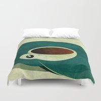 french Duvet Covers featuring French Roast Coffee by Red Coat Studio Design