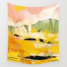landscape abtract - paysage jaune Wall Tapestry