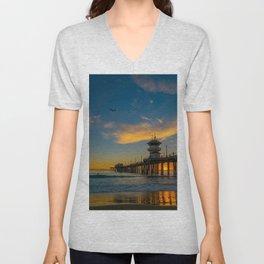 Huntington Seagull Sunset Unisex V-Neck