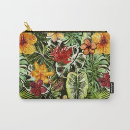 Tropical Vintage Exotic Jungle Flower Flowers - Floral watercolor pattern Carry-All Pouch