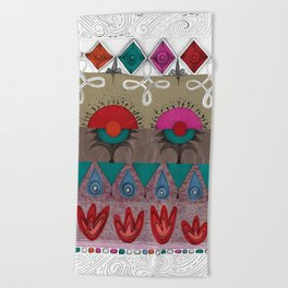 the rhyme of repetitive elements - fire, water, flower, air Beach Towel