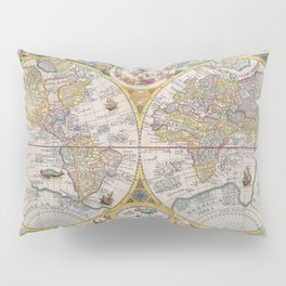 Old Map of the World from 1594 Pillow Sham