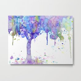 Watercolor Abstract Purple Tree Metal Print