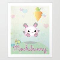 Jumping Kawaii Bunny Art Print