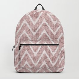 Palest Dusty Pink Zigzag Imitation Suede Chevron Backpack