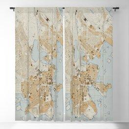 Vintage Map of Helsinki Finland (1909) Blackout Curtain