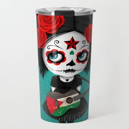 Day of the Dead Girl Playing Palestinian Flag Guitar Travel Mug