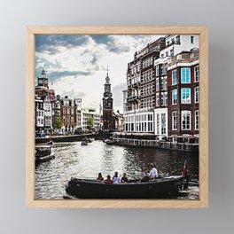 Amsterdam Canals and Fair Weather Clouds Framed Mini Art Print