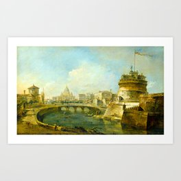 Francesco Guardi Fanciful View of the Castel Sant'Angelo, Rome Art Print
