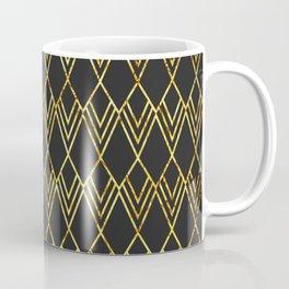 Art Deco Diamond Teardop - Black & Gold Coffee Mug