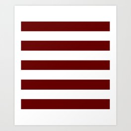 Blood red - solid color - white stripes pattern Art Print