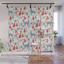 Seamless pattern with winter forest, deer, owl and Fox. The Scandinavian style. Wall Mural