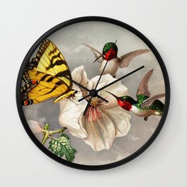Ruby-throated Hummingbirds & Butterfly Portrait Wall Clock