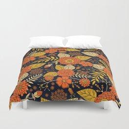 Retro Orange, Yellow, Brown, & Navy Floral Pattern Duvet Cover