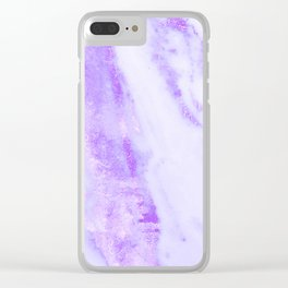 Shimmery Violet Purple Marble Metallic Clear iPhone Case