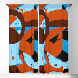 Orange and blue abstact composition 1 Blackout Curtain