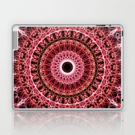 Mandala in red and white colors Laptop & iPad Skin