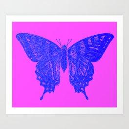 Neon Pop Butterfly  Art Print