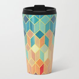 Colorful Squares with Gold - Friendly Colors and Marble Texture Travel Mug