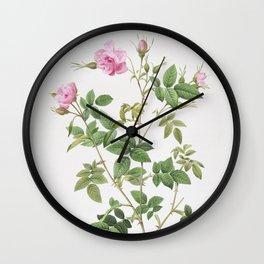 Vintage Pink Flowering Rosebush Wall Clock