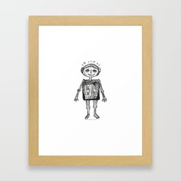 Little robot white and black drawing Framed Art Print