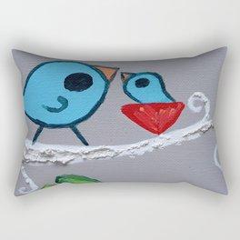 Mamma Bird - Blue on Grey Rectangular Pillow