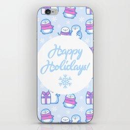 Winter Penguins // Blue iPhone Skin